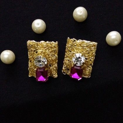 Handmade Gold Purple Earrings - Trendy And Style