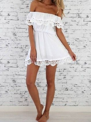 White Off The Shoulder Lace Casual Dress - She In