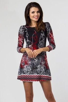 Zigzag Flower Printed Day Dress Black - Depare