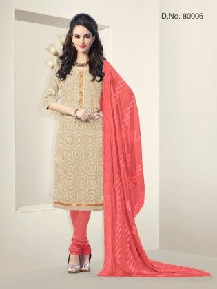 Touch Trends Beige Chanderi Silk Dress Material - Touch Trends Ethnic