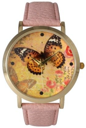 Leather Strap Band Watch With Butterfly Face-light Pink - Vernier Watches
