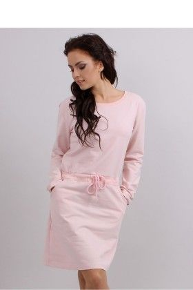 Soft Pink Knitted Day Dress Pink - Inello