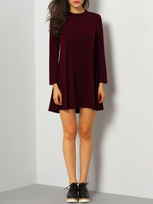 Stand Collar Long Sleeve Loose Dress Burgundy - She In