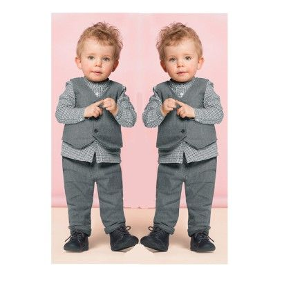 Grey Shirt & Pant With Vest Set - Lil Mantra