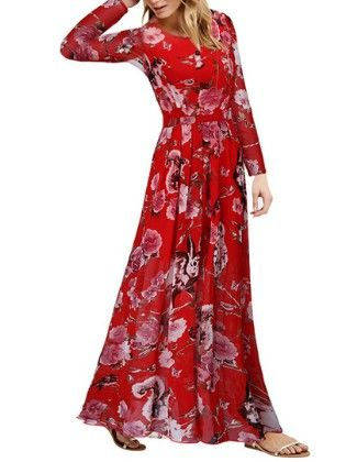 Red Round Neck Owl Print Chiffon Dress - She In