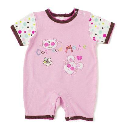 Wonderkids Short Sleeves Baby Romper - Peach - Wonder Kids