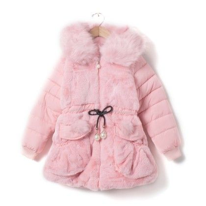 Girls Pink Smart Fur Quilted Overcoat With Hood & Belt - Madcute