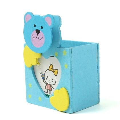 Wooden Penstand Bear With Clip And Photo Frame - Diya