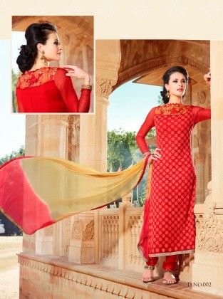 Touch Trends Red Georgette Dress Material - Touch Trends Ethnic