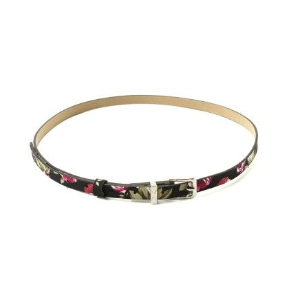 Thin Black Floral Print Belt - Ribbon
