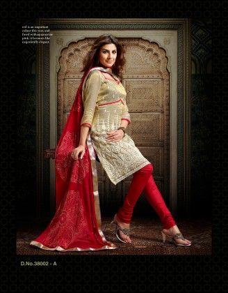 Chanderi Silk Dress Material Beige - Touch Trends Ethnic