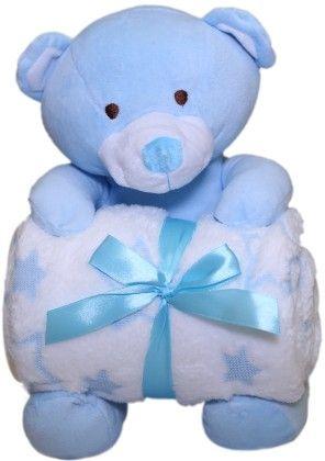 Blue Bear With Detachable Blanket - Angel Toys