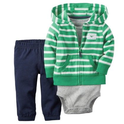 3-piece Cardigan Set - Green Stripe - Carter's