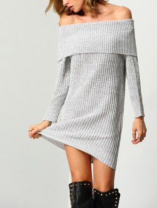 Grey Off The Shoulder Slim Knit Sweater Dress - She In