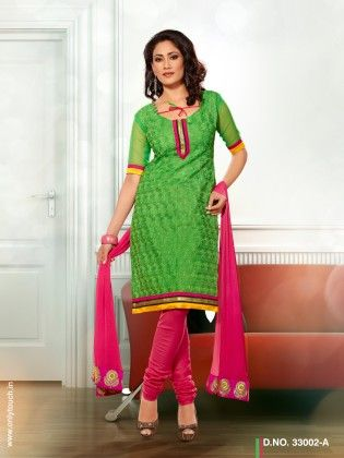 Touch Trends Green Chanderi Cotton Dress Material - Touch Trends Ethnic