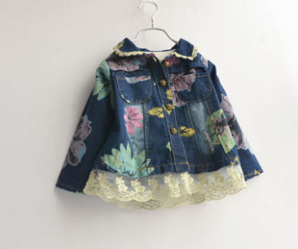 Floral Denim Dress With Lace Decoration - Kidsloft