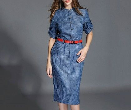 Denim Blue Dress - Drape In Vogue