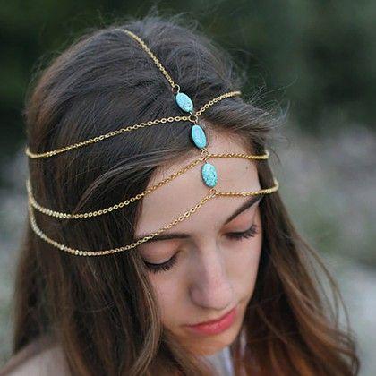 Delicate Gold Chain Blue Stone Head Chain - The Dressing Loft