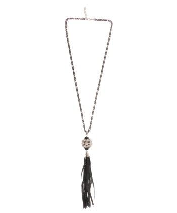 Black Metal Long Chain With Leather Hanging - ETERNZ