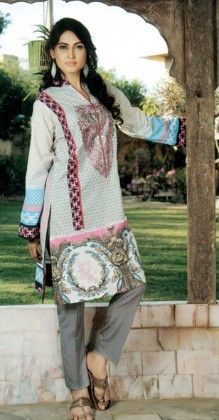 Embroidered Kurti Collection Gray - Mauve Collection