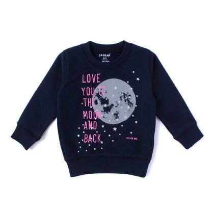 Love You To The Moon Text Printed Rib T-shirt - Navy - Do Re Me