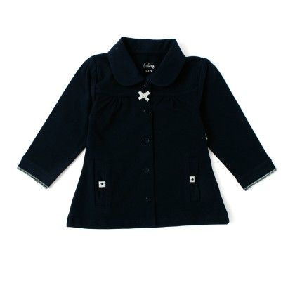 Baby Girls Long Sleeve Jacket With Fancy Pocket - Navy - Babeez