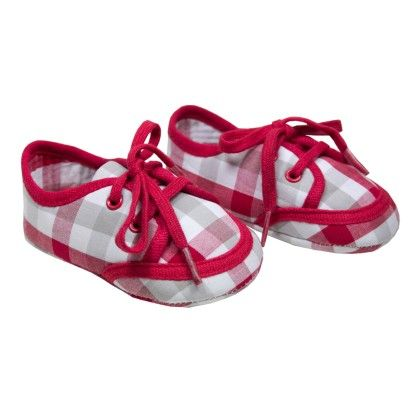 Clara Baby Lace-up Shoes Red Checks - Chateau De Sable