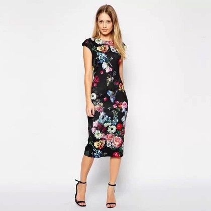 Bodycon Flower Print Dress - Oomph