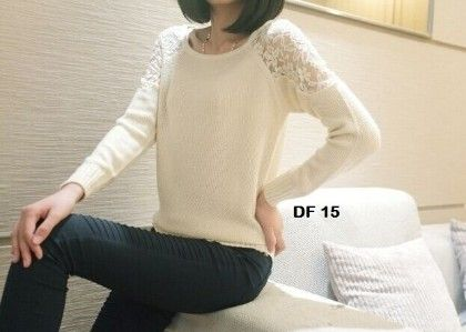 Knit Poyester Cotton White Tops - Dells World