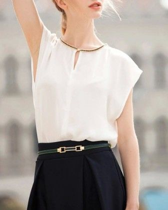 Short Sleeve Chiffon Loose White Top - She In