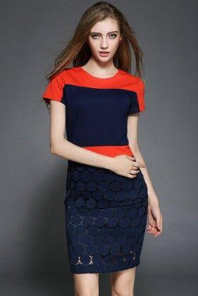 Orange Blue Dress - Drape In Vogue
