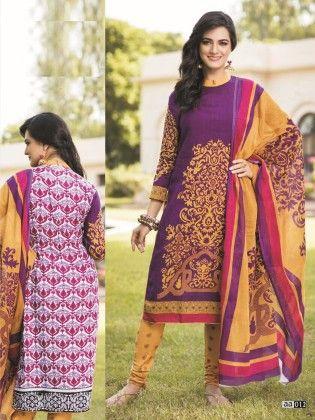 Cotton Printed Purple & Yellow  Dress Material - Fashion Fiesta