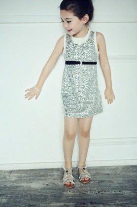 Party Wear Sleeveless Sequined Dress - Silver - Little Dress Up