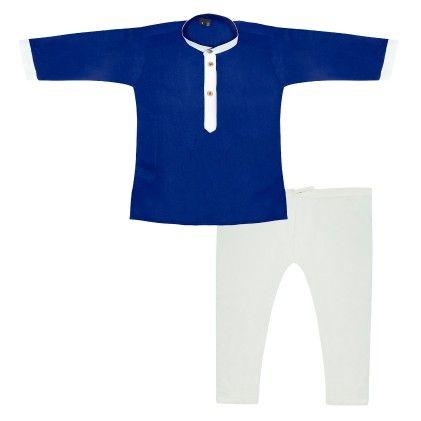 Rayon Kurta Pyjama - Blue & Cream - BownBee