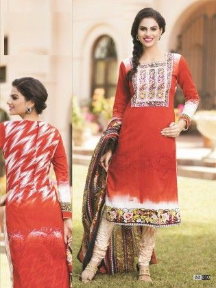 Cotton Printed Red Dress Material - Fashion Fiesta