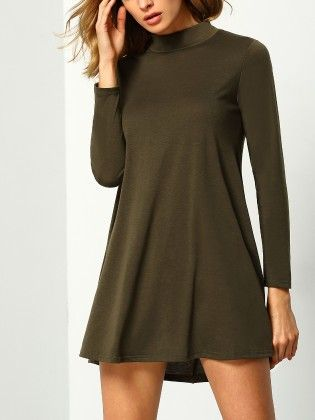 Stand Collar Long Sleeve Loose Dress Green - She In