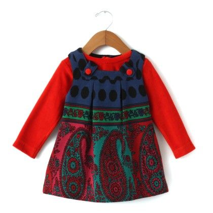 Red Jakard Print With Sheer Inner Baby Frock - Yellow Duck