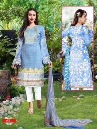 All Over Printed Blue Dress Material - - Fashion Fiesta