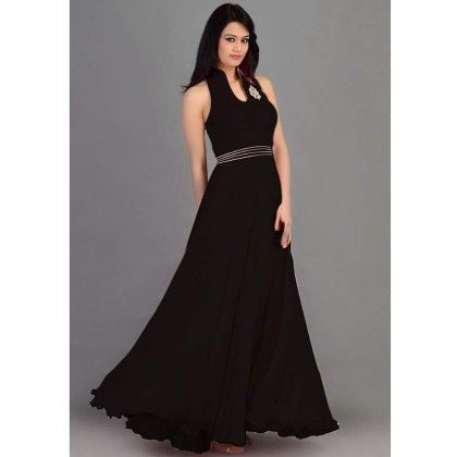 Black Gown Semi Stitched - Trendy & Style