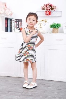 Black Floral Print Striped Dress - Popsicle Kisses