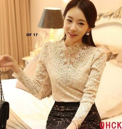 Cotton Lace Full Sleeves White Tops - Dells World