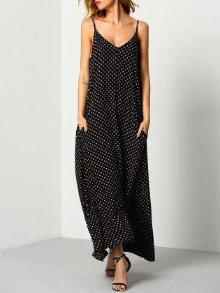 Black Braces Deep V Neck Floral Houndstooth Print Cami Slip Dress - She In