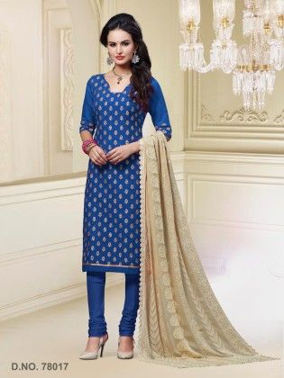 Touch Trends Blue Chanderi Silk Dress Material - Touch Trends Ethnic