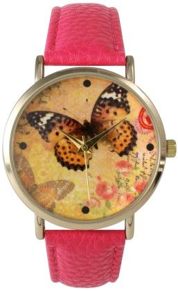Leather Strap Band Watch With Butterfly Face-pink - Vernier Watches