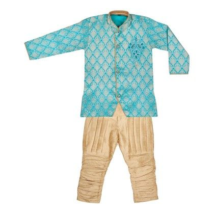Sherwani With Breeches - Sky Blue - BownBee
