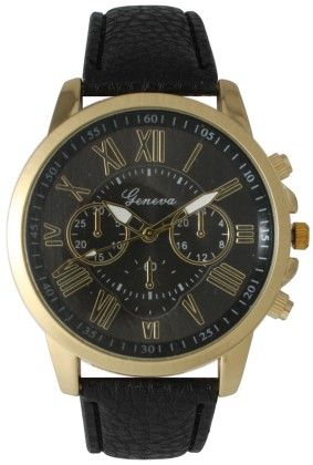 Leather Band Watch With Roman Numbers-black - Vernier Watches