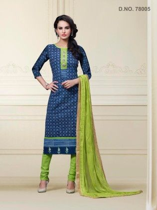 Touch Trends Blue Cotton Dress Material - Touch Trends Ethnic