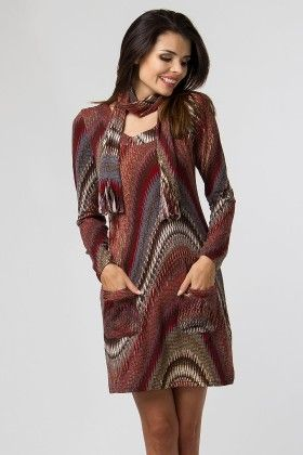 Printed Day Dress With Pockets Brown - Depare