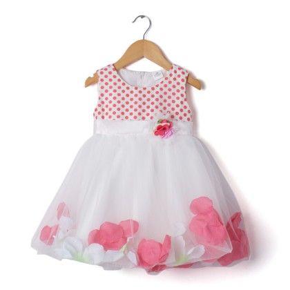 Peach & White Floral Applique Dress - Party Princess