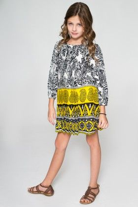 Black And Yellow Paisley Dress - Toddler And Girls - Yo Baby